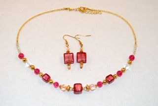 Pink murano glass cubes and globes necklace and earrings