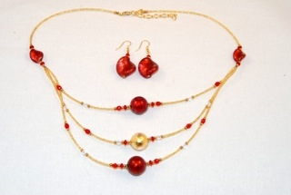 Red 3 tiers murano glass necklace and earrings set