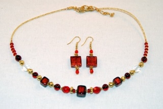 Red murano glass cubes and globes necklace and earrings