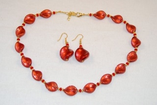 Red murano glass small twists necklace and errings