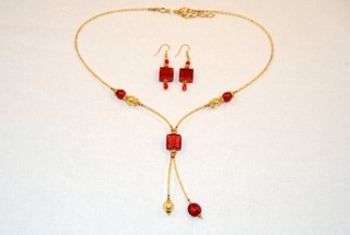 Red murano glass square dangle necklace earrings