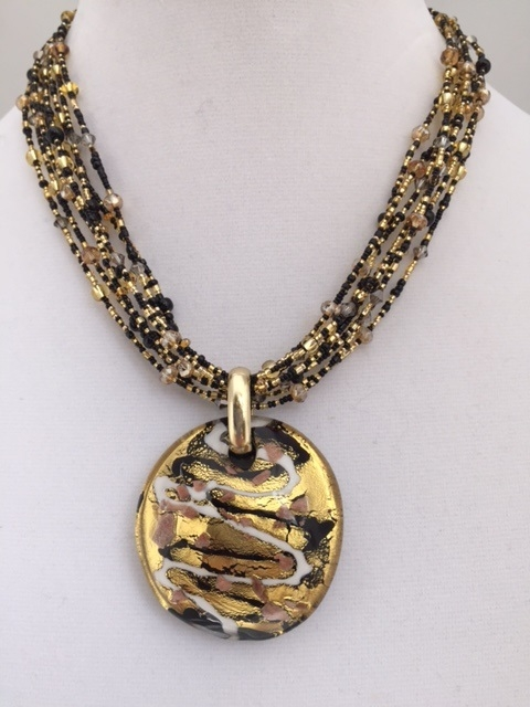 Maniera black and gold murano glass pendant