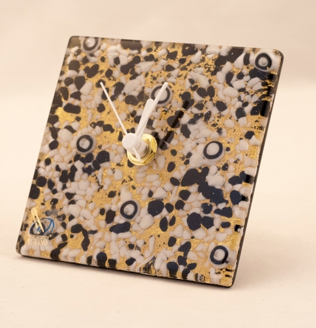 Murano Glass Clock Black/White/Gold