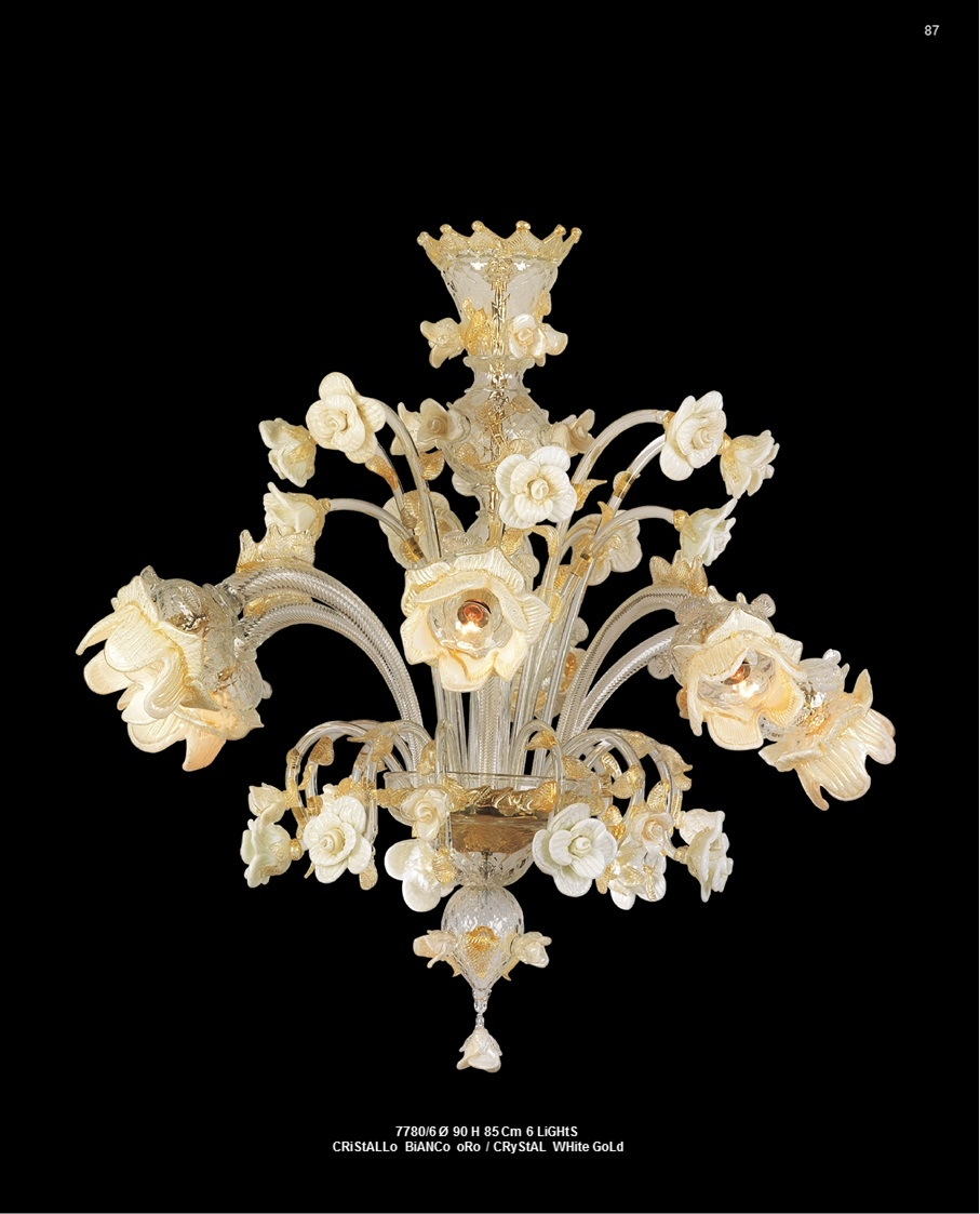 Murano Glass Chandelier Crystal/White/Gold
