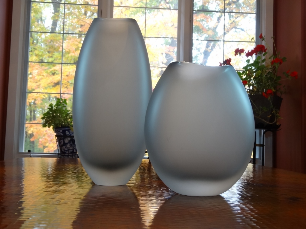 Murano Glass VASO GRIGIO SATINATO GREY SATIN VASE