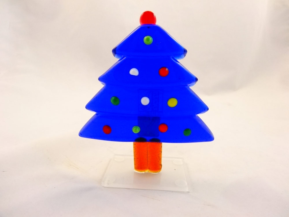 Murano Glass Royal Blue Christmas Tree