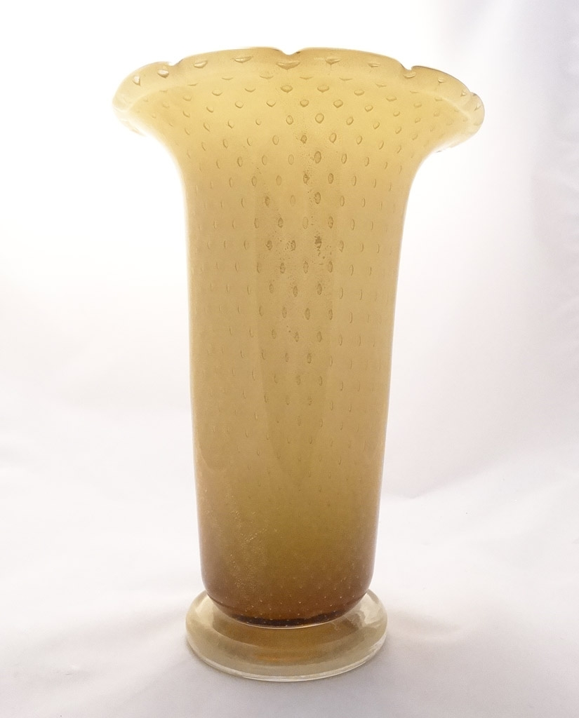 Bullicante Murano Glass Amber and Gold vase