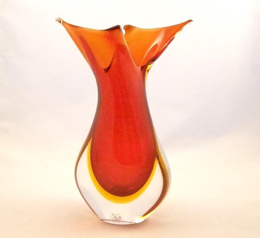 Murano Glass Red And Amber Fifi Vase Murano Glass Murano Glass