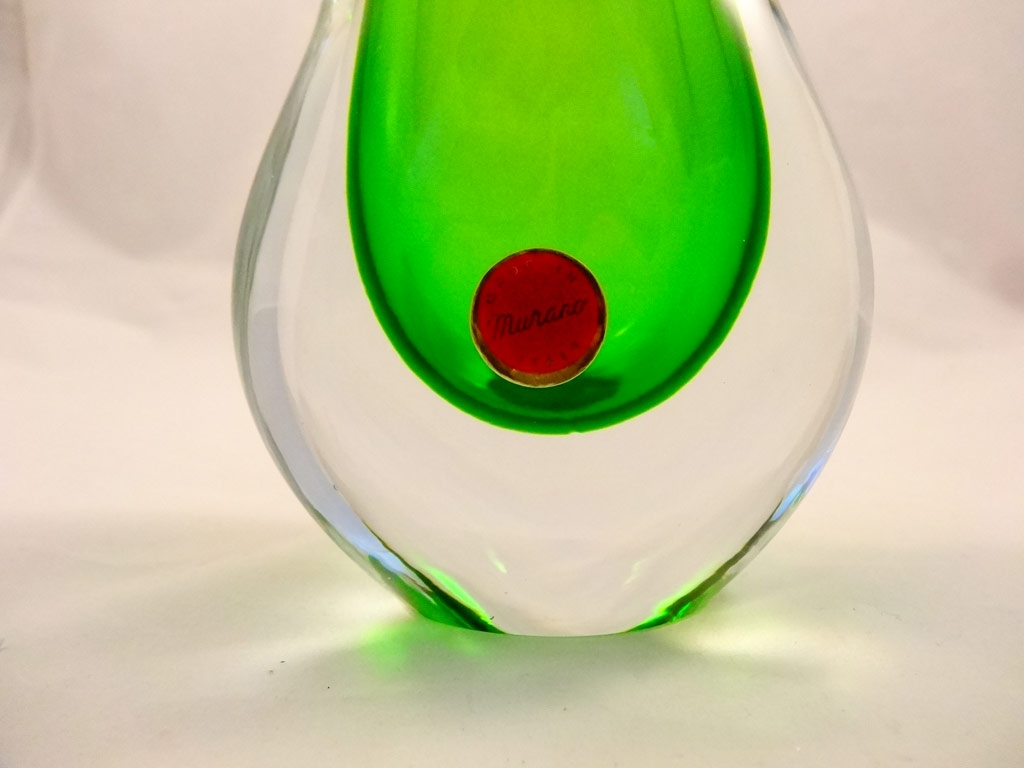 Murano Glass Emerald and Crystal Vase