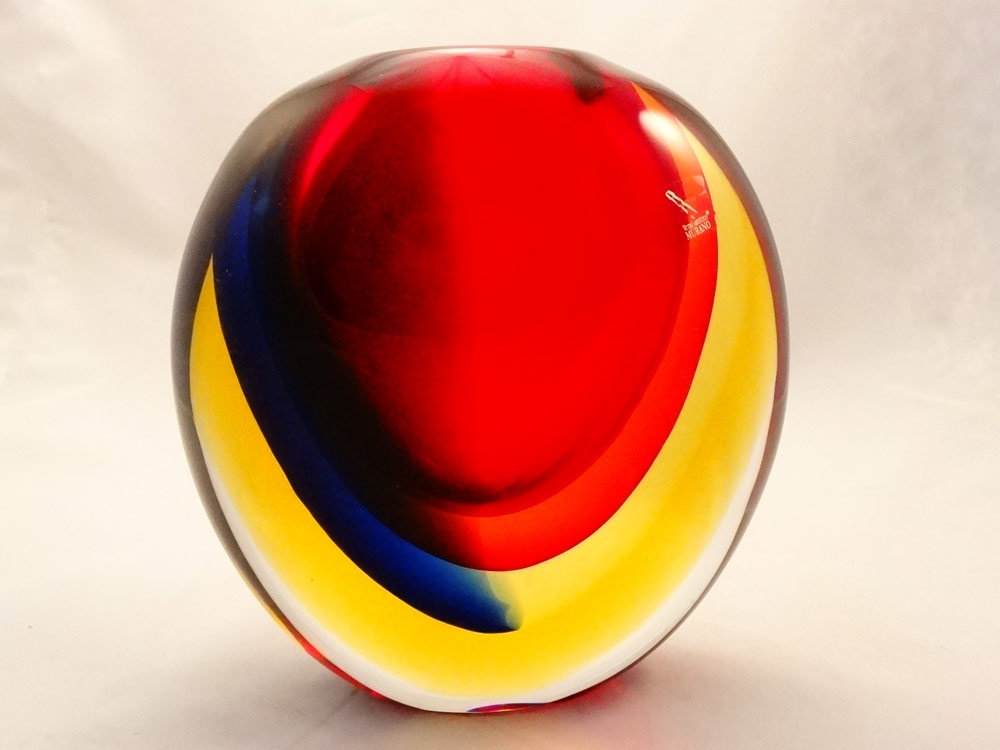 Murano Glass Oball Red Amber Blue Crystal Sommerso Vase Murano