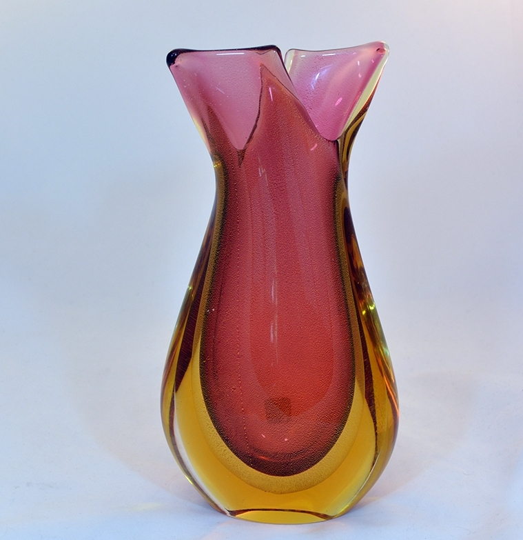 Ruby Amber And Gold Murano Glass Sommerso Vase Murano Glass
