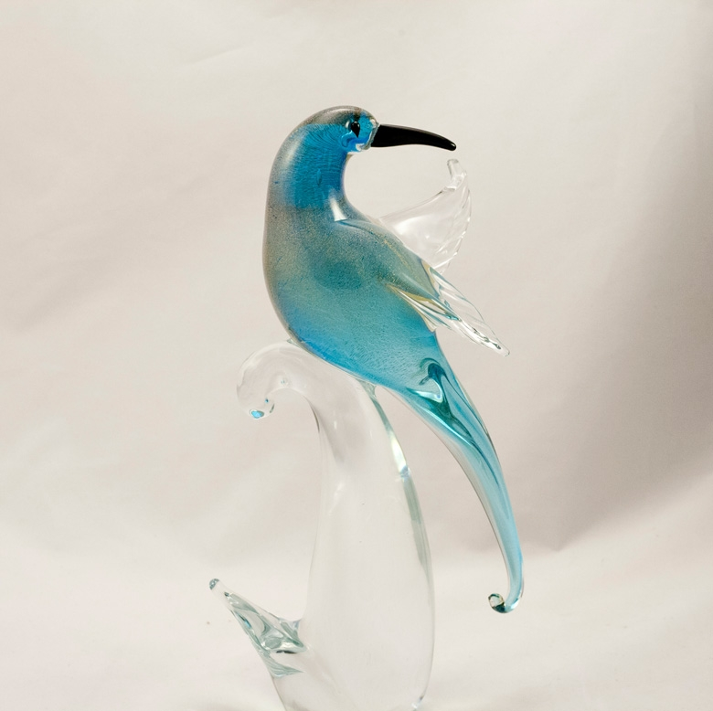 MURANO BIRD OF PARADISE AQUA/GOLD HEAD BACKWARD