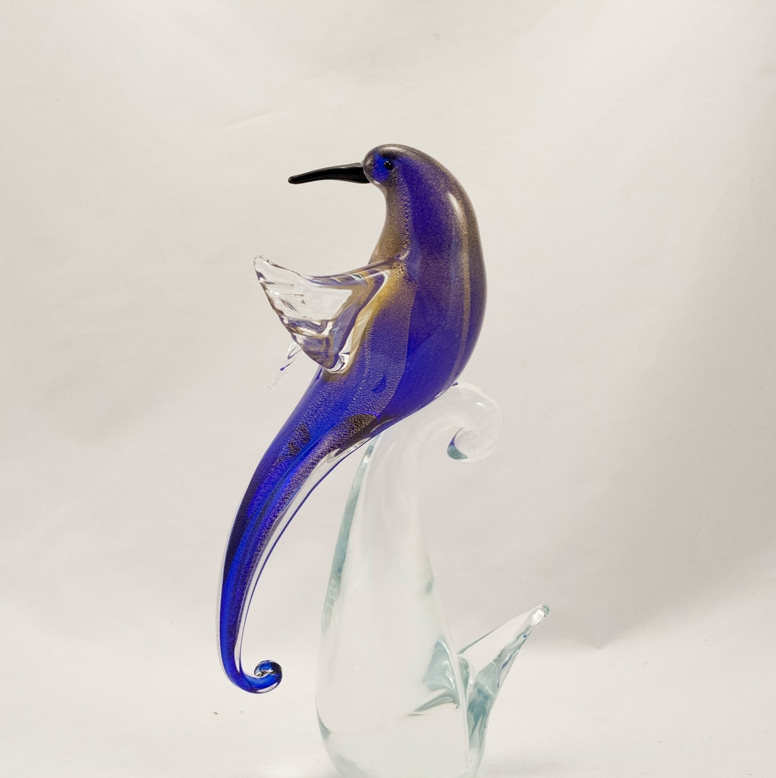 Murano Glass Bird of Paradise Open wings Cobalt/Gold Face Backward