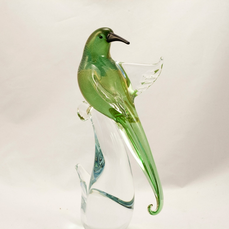 Murano Glass Bird of Paradise Open wings Green/Gold Head Back