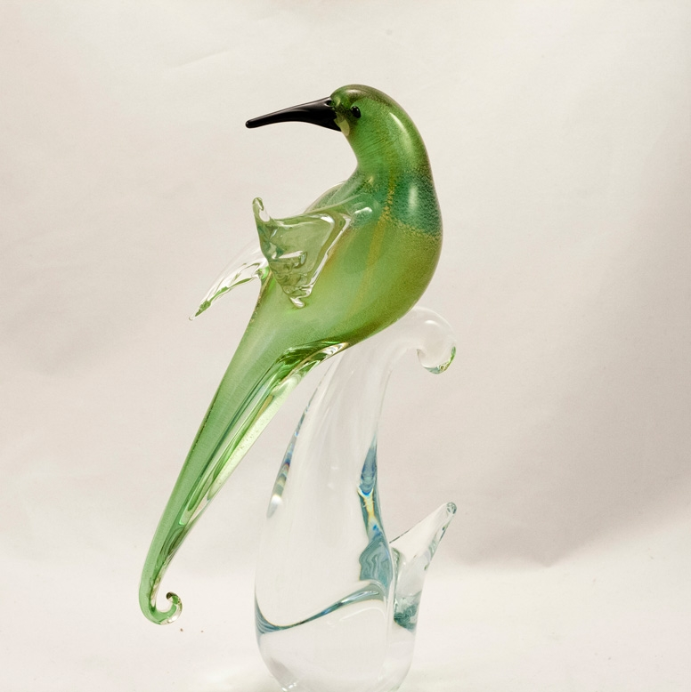 Murano Glass Birds of Paradise Open wings Green/Gold Pair
