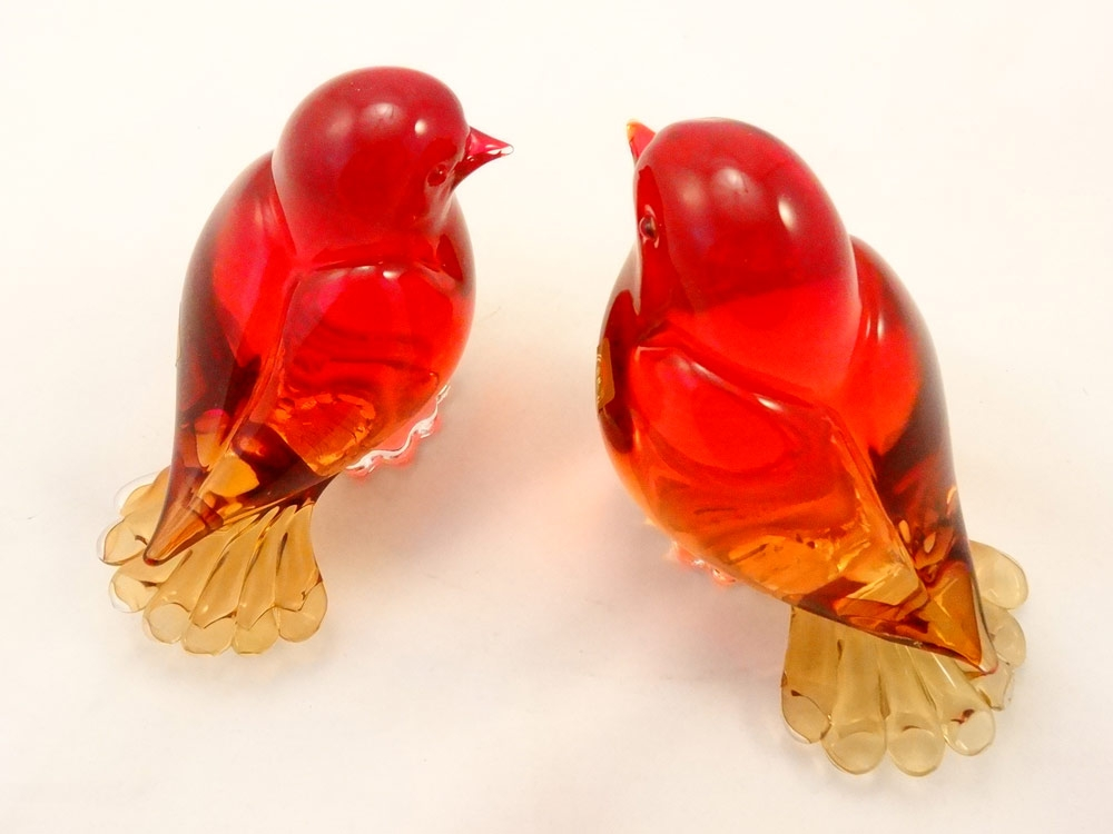 Murano Glass  two birds set
