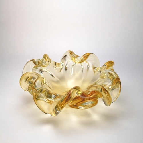 Amber Color Murano Glass Bowl