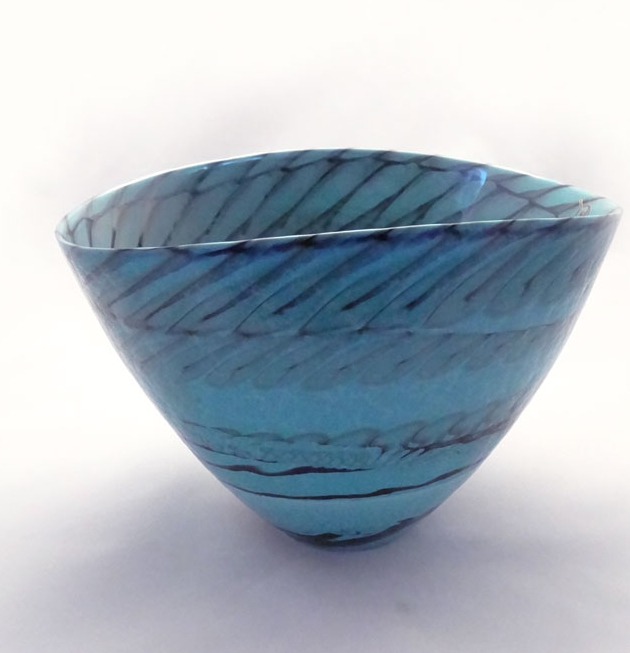 Blue shell murano centerpiece glass