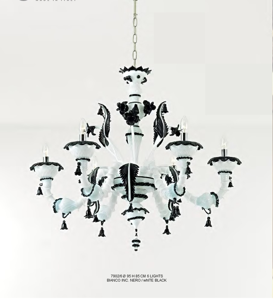 Murano Glass Chandelier White/Black