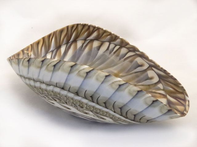 Large Murano Ivory and Brown mother of Pearl Bowl