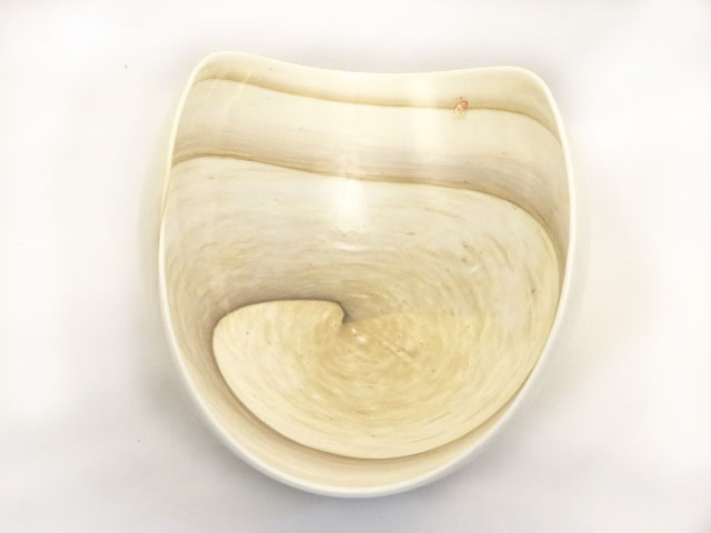 Large Striato Murano glass Ivory and Marble Folded Bowl