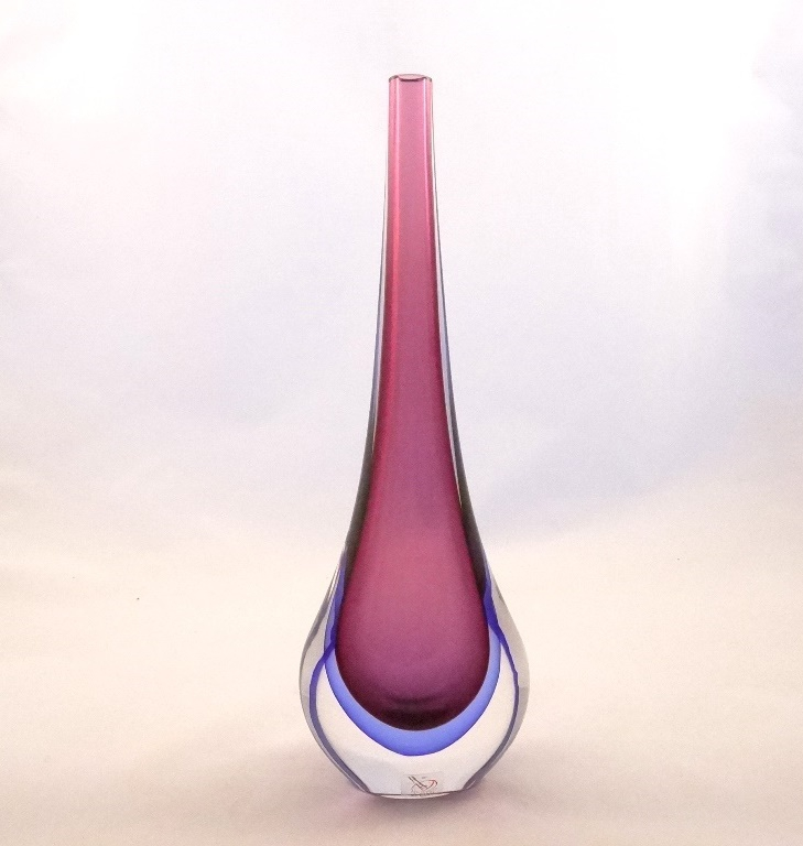 Murano Glass Ruby and Blue Gocce Vase