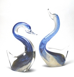 Swan Pair Blue/Gold