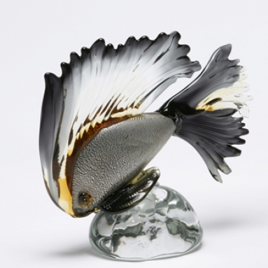 Black and amber Murano Fish