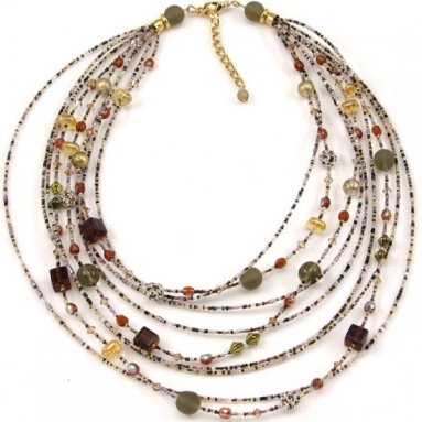 Murano Glass Watefall Amber Necklace