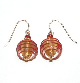 Verona Earrings Red/Gold