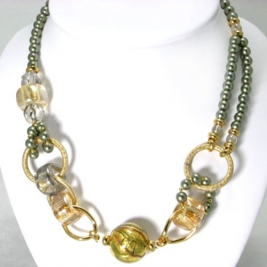 Murano glass  Necklace Green