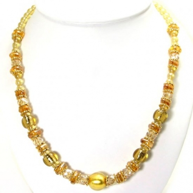 Murano Glass Necklace Gold