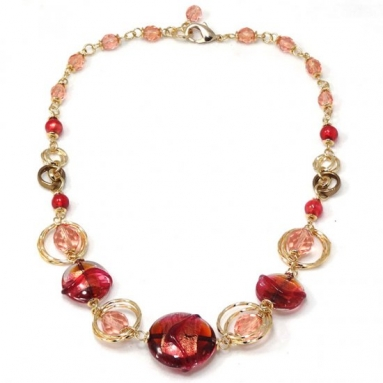 Murano Glass  Necklace Coral