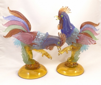 Murano Glass Roosters pair