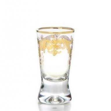 Set of Six Liqueur Glasses with Rich 24k Gold Artwork