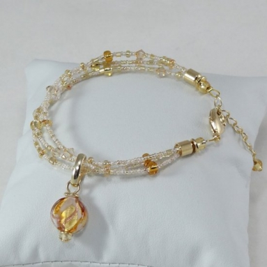 Bracelet with Amber/White beads