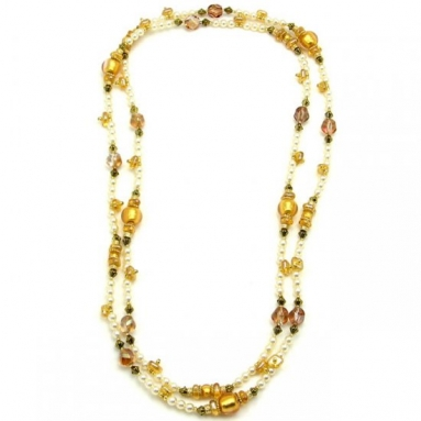 Vintage Beads Necklace White and Gold