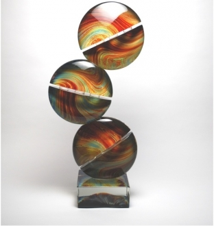 Murano Glass Calcedonia Triple Disc Sculpture