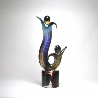 Murano Glass Tango Alto Lovers Sculpture Calcedonia