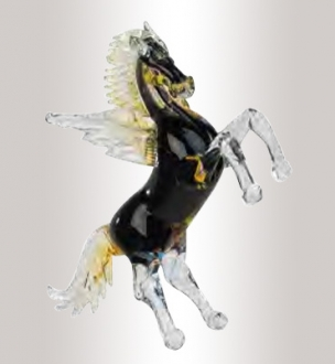 Murano Glass Amber/Black/Gold Horse With Wings