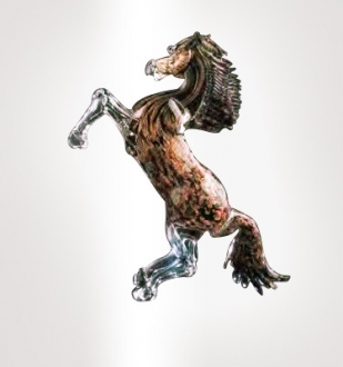 Murano Glass Aventurine/Black Horse