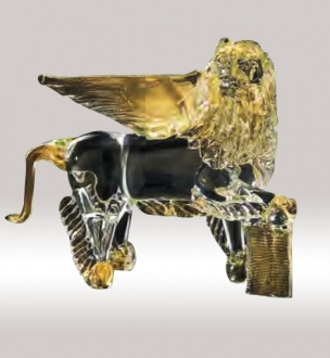 Murano Glass Crystal/Gold Lion