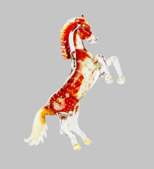 Murano Glass Crystal/Red/Gold Horse