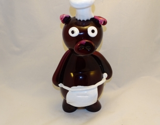 Murano Glass Pipi Chef Pig Dark Brown