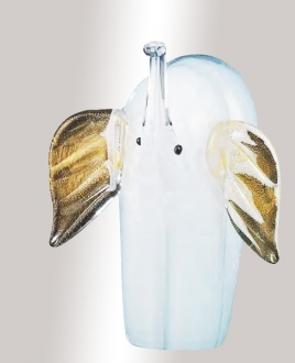 Murano Glass White/Gold Elephant