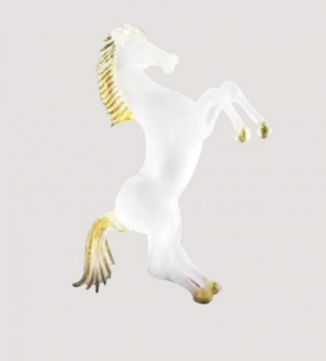 Murano Glass White Mat/Gold Horse