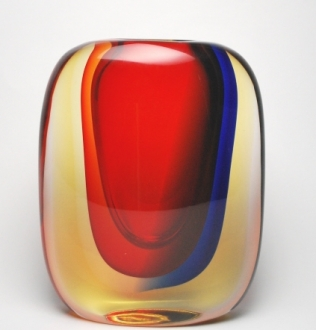 Chromatic murano vase Blue/Ruby/Amber