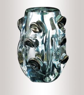 Murano Glass Silver/Black And Gold Vase