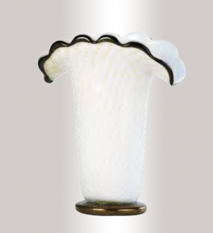 Murano Glass White/Black/Gold Vase