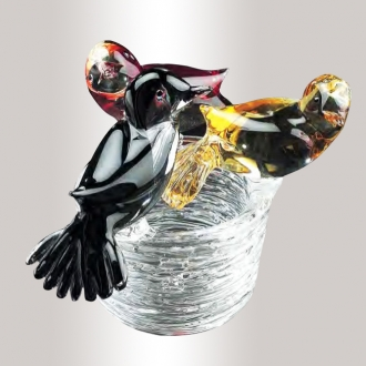 3 Murano Glass Birds On The Nest